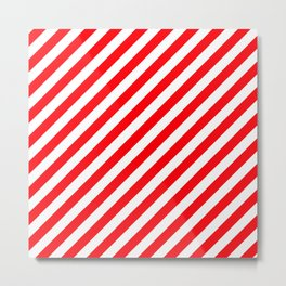 Christmas Red and White Candy Cane Stripes Metal Print