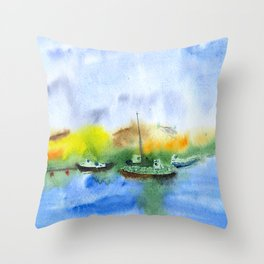Ships and dunes in Nida, watercolor Throw Pillow