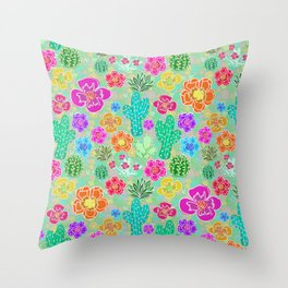 Cactus Festival Party - Green Throw Pillow