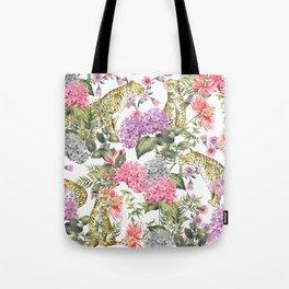 Leopards in flowery garden Tote Bag