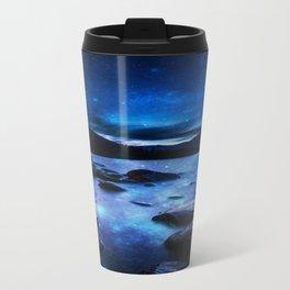 Magical Mountain Lake Dark Blue Travel Mug