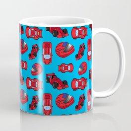 Red Motor Racing Sports Cars Racetrack Pattern Coffee Mug