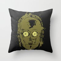 c3po Throw Pillows featuring C3PO by Peyeyo