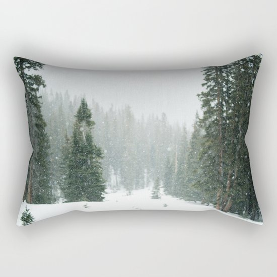 Snow Covered Forest Rectangular Pillow
