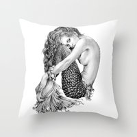 mermaid Throw Pillows featuring Mermaid by April Alayne