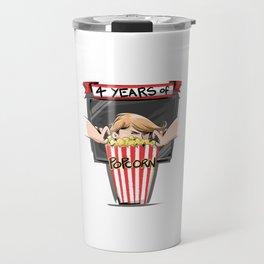4 years of popcorn Travel Mug
