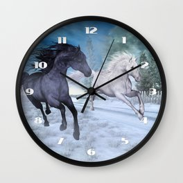 Freedom in the snow Wall Clock