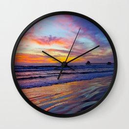 Huntington Beach Sunset   2/11/14  Wall Clock
