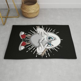 Rugby Ball Shows Victory Hand Sign Rug