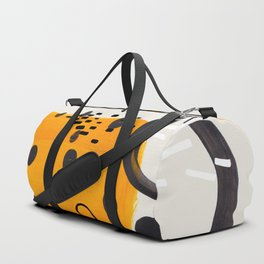 Mid Century Modern Abstract Vintage Colorful Shapes Yellow Bubble Ring Duffle Bag