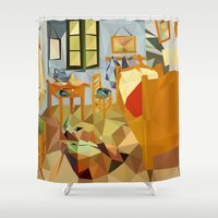 van gogh Shower Curtains featuring Van gogh by bobilerorg