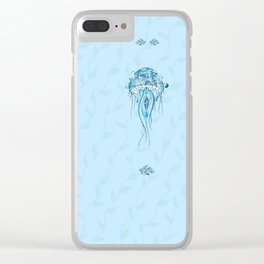 Jellyfish and Beta Fish in a Cyan Seaweed Sea Clear iPhone Case