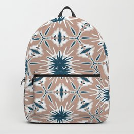 Peach and navy blue mandala kaleidoscope pattern Backpack