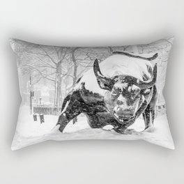 The Charging Bull, In the snow. Rectangular Pillow
