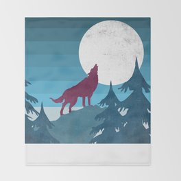 Wolf in the woods Throw Blanket