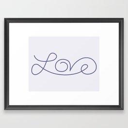 Love calligraphy print - Smokey purple with pale purple background Framed Art Print