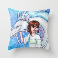 chihiro Throw Pillows featuring Spirited Away Chihiro and Haku by Kimberly Castello