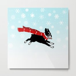 Red Winter Scarf Dog Metal Print