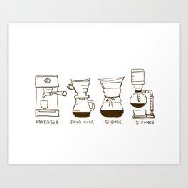 Coffee Brewing Methods Art Print