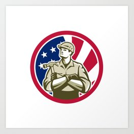 American Carpenter USA Flag Icon Art Print