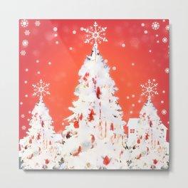 Three White Christmas Trees   Nadia Bonello Metal Print