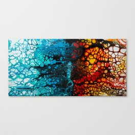 FIRE & ICE Acrylic Pour Painting Canvas Print