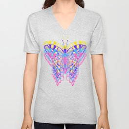 Colorful Layered Butterfly Design Unisex V-Neck