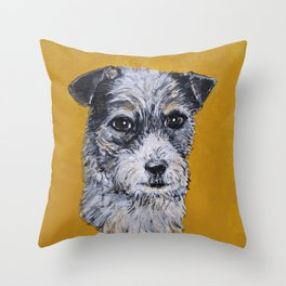 Terrier Mix Dog Portrait Throw Pillow