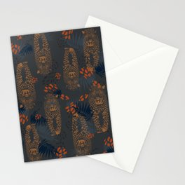 Midnight Leopard - Navy and orange Leopard and Palm pattern Stationery Cards