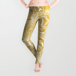Modern lemon curry watercolor floral hand drawn pattern Leggings