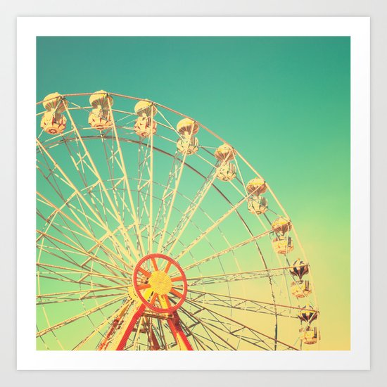 All the happy days - Carnival, ferris wheel , turquoise green, vintage retro, fall autumn, blue sky Art Print