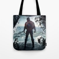 steve rogers Tote Bags featuring Steve Rogers 002 by TheTreasure