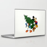 donald duck Laptop & iPad Skins featuring Mickey Mouse and Donald Duck with christmas tree by Yuliya L