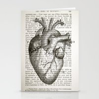 anatomical heart Stationery Cards featuring Anatomical Heart on French by CrowBiz
