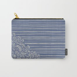 The Unraveling of Paisley Lace (in blue and cream) Carry-All Pouch