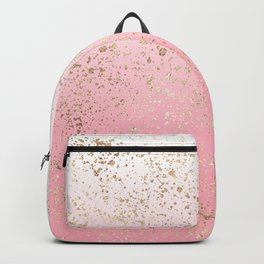 Pink White Ombre Speckled Gold Flakes Backpack