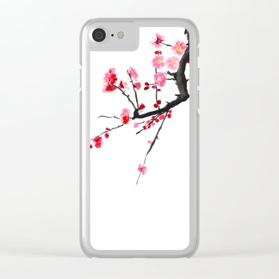 red plum flower Clear iPhone Case