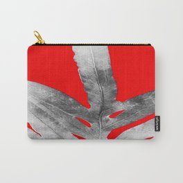 Green Fern on Red Inverted Carry-All Pouch