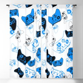 Video Game White and Blue Blackout Curtain