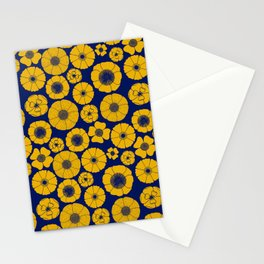 Yellow flower pattern with blue background Stationery Cards