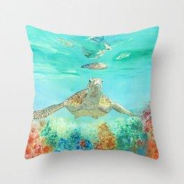 Leonardo the Sea Turtle Throw Pillow