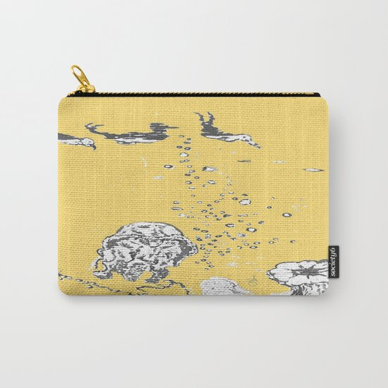 Two Tailed Duck and Jellyfish Pale Yellow Mellow Carry-All Pouch