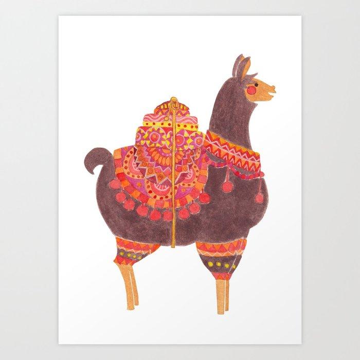 The Lovely Llama Art Print