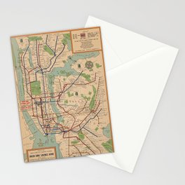 New York City Metro Subway System Map 1954 Stationery Cards