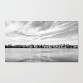 Clouds Above The Lake in Black and White Canvas Print