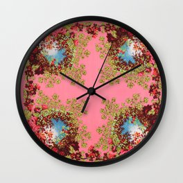 Traditional folk embroidery with flowers Wall Clock