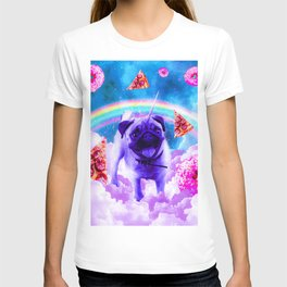Rainbow Unicorn Pug In The Clouds In Space T-shirt