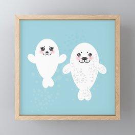 set Funny white fur seal pups, cute winking seals with pink cheeks and big eyes. Kawaii animal Framed Mini Art Print