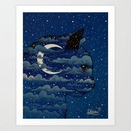 LUNA CAT by Raphaël Vavasseur Art Print