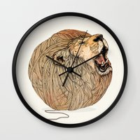 lions Wall Clocks featuring Unravel Me by Sandra Dieckmann